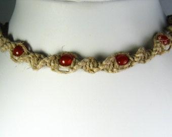 Hemp Twist Necklace with Carnelian Agate Stone Beads