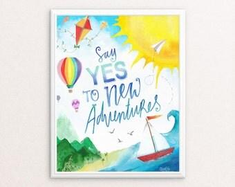 Playroom Printable, Little Boy's Room Art, Playroom Art Print, Adventure Awaits, Playroom Decor, New Adventures Quote, Greatest Adventure