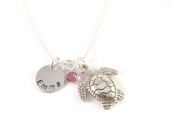 Personalized turtle necklace, sea turtle necklace, Swarovski birthstone, name necklace,  gift for her, silver turtle jewelry