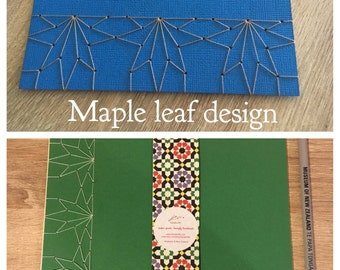 Japanese stab binding notebooks with unique hand-bound decorative designs: Stars, Marionette, Kissing fish and Maple leaves