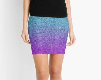 Tropical Twilight Glitter Gradient Pencil Skirt, 7 Sizes Available!