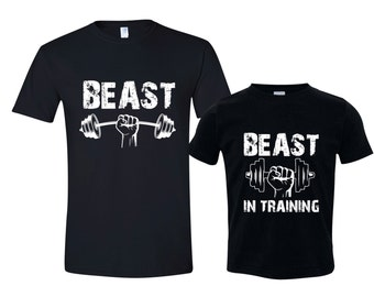 Dad and Son Matching Shirts, Matching Dad and Son TShirts, Beast / Beast in Training, Dad Son Shirts