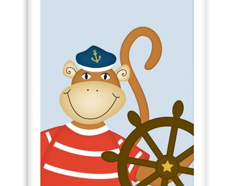 Nautical Wallart Monkey Helmsman | Wall Art Children | Nursery Art | fresh + clear  |    Modern Scandinavian Style