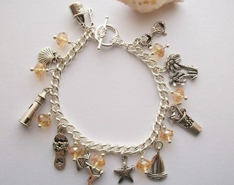 Life's a beach - Seaside themed charm bracelet. Nautical, holiday, paradise