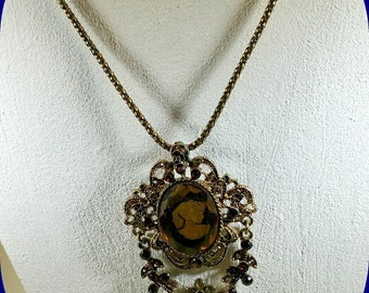 Vintage Avon Necklace-Brooch Cameo with Orange Citrine Stones and Flowers