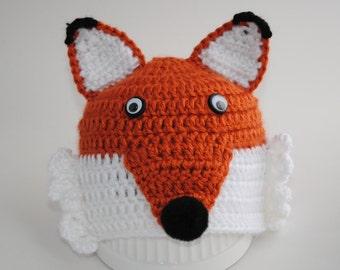 Crochet Fox Hat, Baby Fox Hat, Newborn Baby Hat, Toddler Fox Hat, Orange Fox Hat, Animal Baby Hat, Kids Fox Hat, Red Fox Hat, Child Fox hat