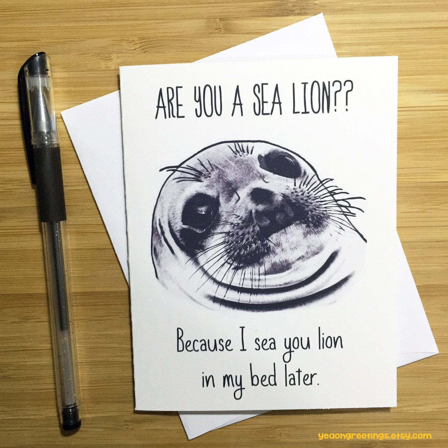 Funny Pun Card Sea Lions Pick Up Lines Adult Humor Love