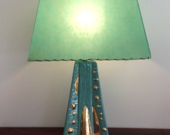 Mid Century Turquoise Ceramic Lamp with Strapped Shade