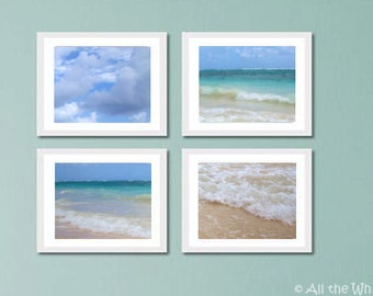 Ocean Photo Wall Art - Beach Photography Series - Set of 4 Framed or Unframed - Multiple Sizes Available