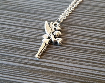 Silver Winged Fairy Necklace - Fairy Necklace - Personalized Necklace - Custom Gift - Initial Necklace - Pixie Necklace - Dainty