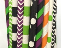 Halloween Paper Straws -Set of 25 - Halloween Straws - Halloween Cake Pop Sticks - Drinking Straws - Orange and Black
