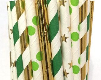 2.85 US Shipping -St. Patrick's Day Paper Straws - Paper Straws - Cake Pop Sticks - Drinking Straws