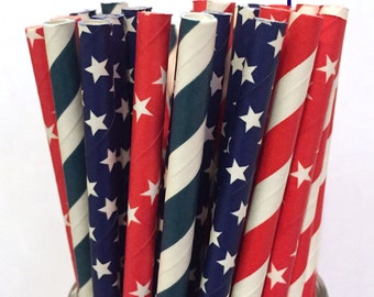 Red, White and Blue Paper Straws - Set of 25- 4th of July Paper Straws - Cake Pop Sticks - Drinking Straws