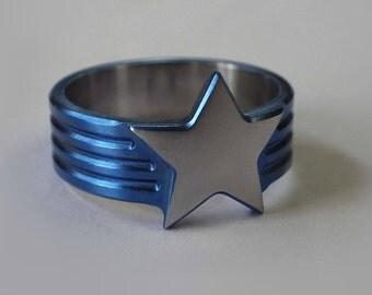 Truthseeker Wonder Woman Inspired Titanium Ring Anodized