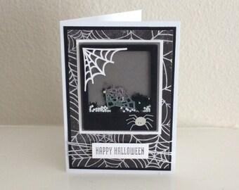 Happy Halloween Card/ Shaker Card/ Halloween Shaker Card/ Spiders/ Halloween Card/ Halloween