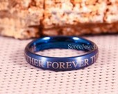 Blue Tungsten Band with Domed Edge 4mm Band Together Forever Through Time and Space Ring