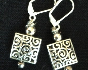 Silver Scroll and Bead Drop Earrings