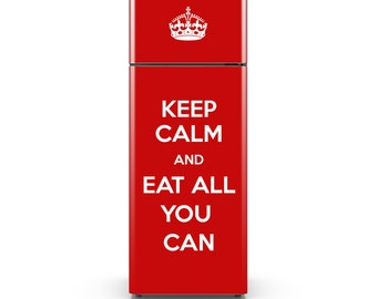 Fridge Decal - Keep Calm Adhesive Wallpaper - Fridge Vinyl Wrap - HD Print - Customizable