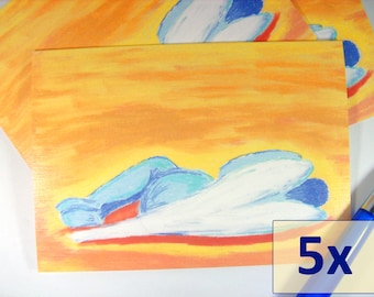 "5x Folded Card Set, Sympathy Cards, Condolence, Art Cards, blank inside, title ""Sleeping Angel"""