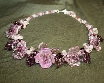 Handmade lampwork  rose flower necklace
