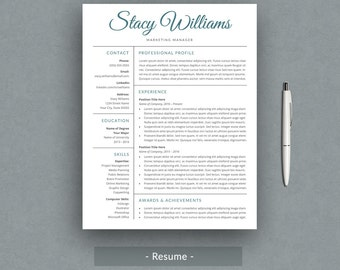 Creative Resume Template for Word | Simple Resume Template | Printable Resume with Cover Letter| Professional Design | Instant Download