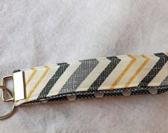 Chevron Grey and Yellow Wristlet Key Fob,  Wrist keychain, Fabric Key Chain, Short Lanyard, Grey and White Polka Dot on inside