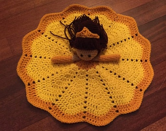 Crochet Disney Inspired Belle Doll, Lovey, Security Blanket
