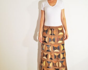 Leather Skirt - reversible, crocheted patchwork, vintage look
