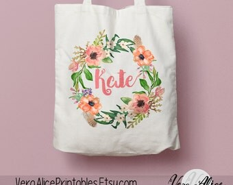 Name tote bag | Etsy