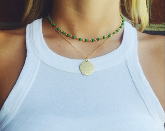 Jade & Gold Dual-Layer Necklace with Hammered Gold Pendant