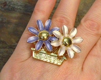 SALE - Purple Flowers HUGE Fashion Costume Cocktail Ring - Up-cycled Pin - Adjustable Size