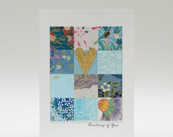 """Handmade Greeting Card - """"Thinking of you"""" 12 Square Mosaic from Fine Art Papers"""