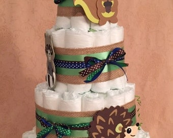 4 Tier Diaper Cake Woodland Foxey Fox Friends Baby Shower Centerpiece
