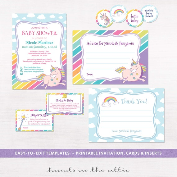 Printable party kit unicorn invitation baby shower advice il570xn pronofoot35fo Image collections