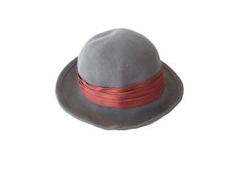 Vintage Wool Hat Lancaster Mod Hat Vintage Hat Festival Hat Festival Fashion Boho Winter Hat Gray and Orange Burnt Umber