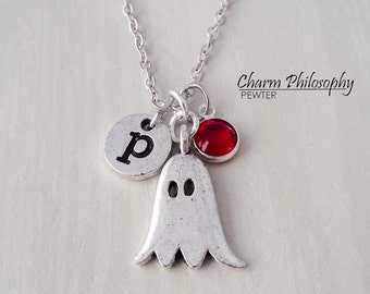 Ghost Necklace - Halloween Costume Charm - Antique Silver Jewelry - Monogram Personalized Initial and Birthstone