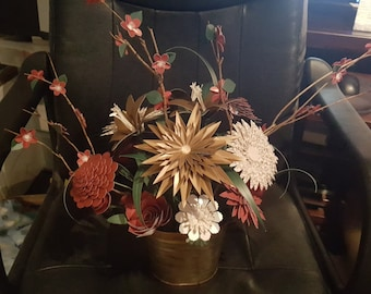 Maroon, Gold & White Flower Centerpiece