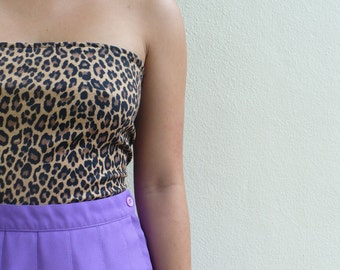90's Cropped Leopard Print Tube Top