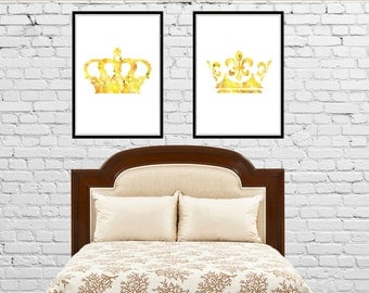 King and Queen wall decore, Crown,  King Crown,  Queen Crown, Set of 2 Prints, Couple Bedroom Art  (2317,18b)