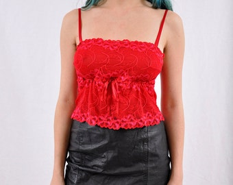 90's Red Lace Lingerie Tank Top Spaghetti Strap XS/S/M