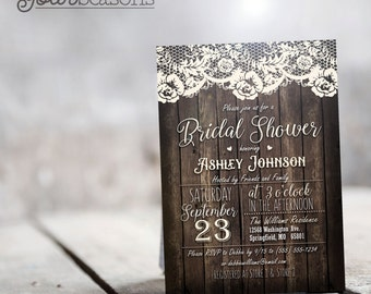 Rustic Country Bridal Shower Invitation - Personalized Printable DIGITAL FILE