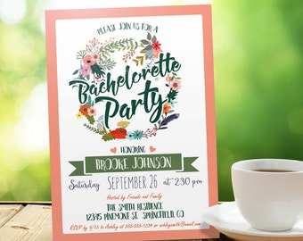 Peach and Green Bachelorette Party Invitation - Personalized Printable DIGITAL FILE