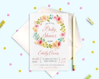 Baby Shower Invitation Shabby chic Baby Shower Invitation printable Baby Garden Floral Baby Shower invite Pink Rose Invitation idbs5