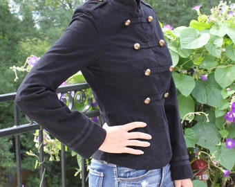 officer style jacket black woman, small size