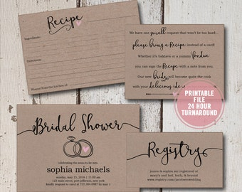 Bridal Shower Invitation Printable Suite, Rustic Wedding Shower Invite Set, Brown Paper Shower Activity, Bridal Recipe Card Insert, Download