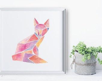Fox Print - Geometric Watercolor Square - Wall Art Series