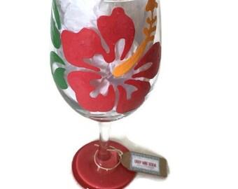 Hawaiian Hibscus Flower Hand Painted Wine Glass, Hibscus Floral Flower Wine Glass, Caribbean Tropical Flower Gift, Summer Hibscus Flowers
