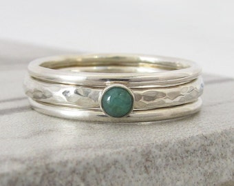 Stacking Ring Set for Women - May Birthstone Ring - Stack Rings - Gemstone Stacking Rings - Wife Gift - Emerald Ring Birthday Gift