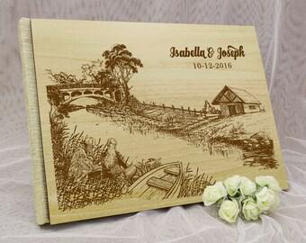 Custom Guestbook, Wedding Guest Book, Personalized Wedding Guest Book, Wood Wedding Guest Book, Guest Book Wedding GB77