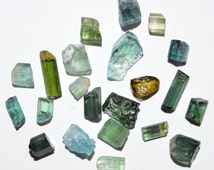 Rough Blue and Green Tourmaline Crystals Lot 25,92 CT 22PCs Natural Gemstone Afghanistan